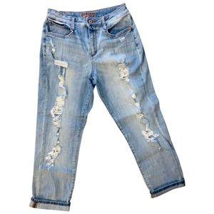 Arizona Cropped Distressed Boyfriend Jeans